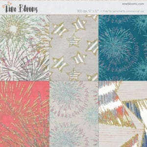4th of July Digital Paper by Rene Blooms
