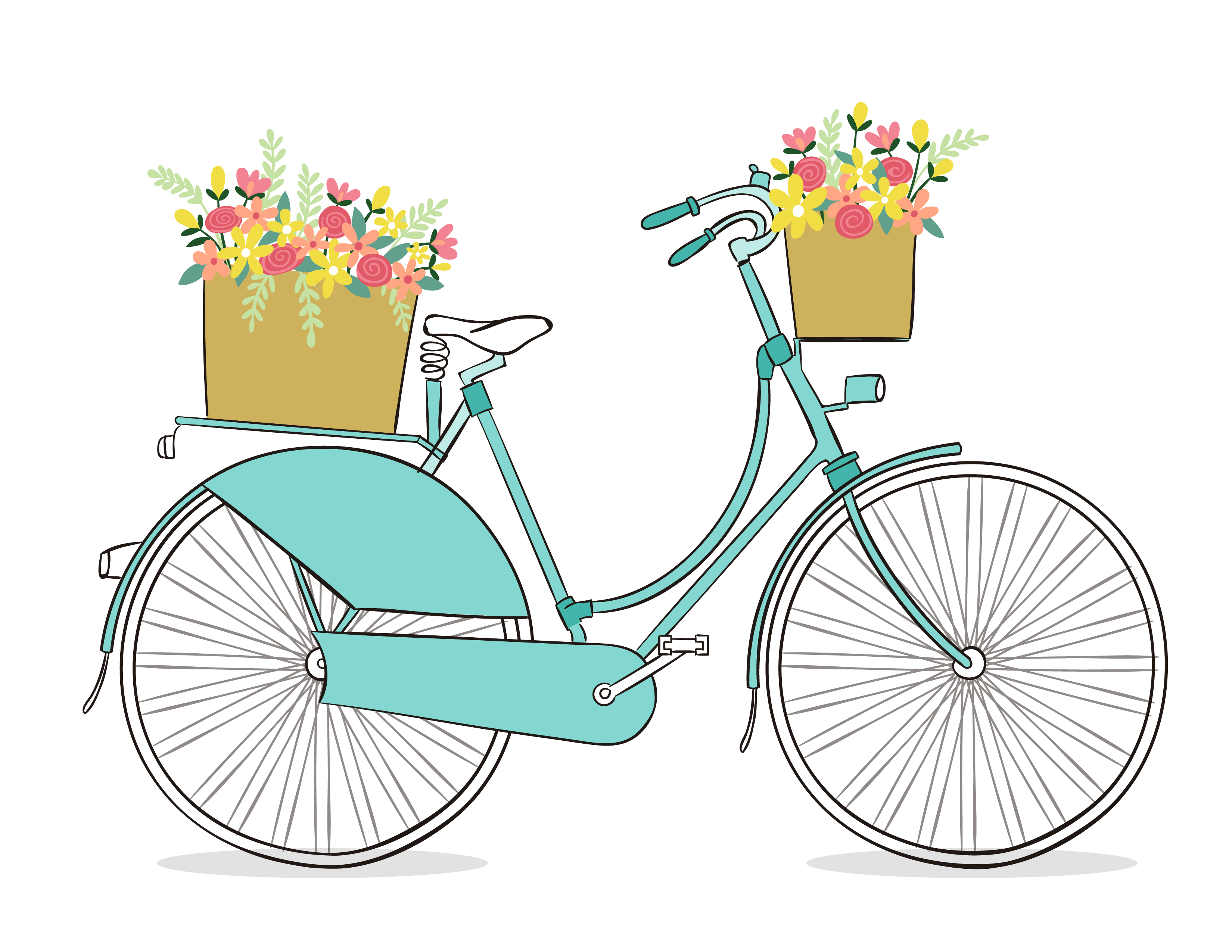 Free Romantic Bicycle Clip Art - Free Pretty Things For You