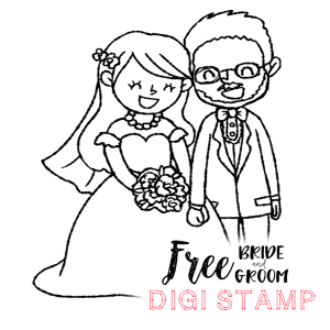 Free Digital Stamp: Bride and Groom!