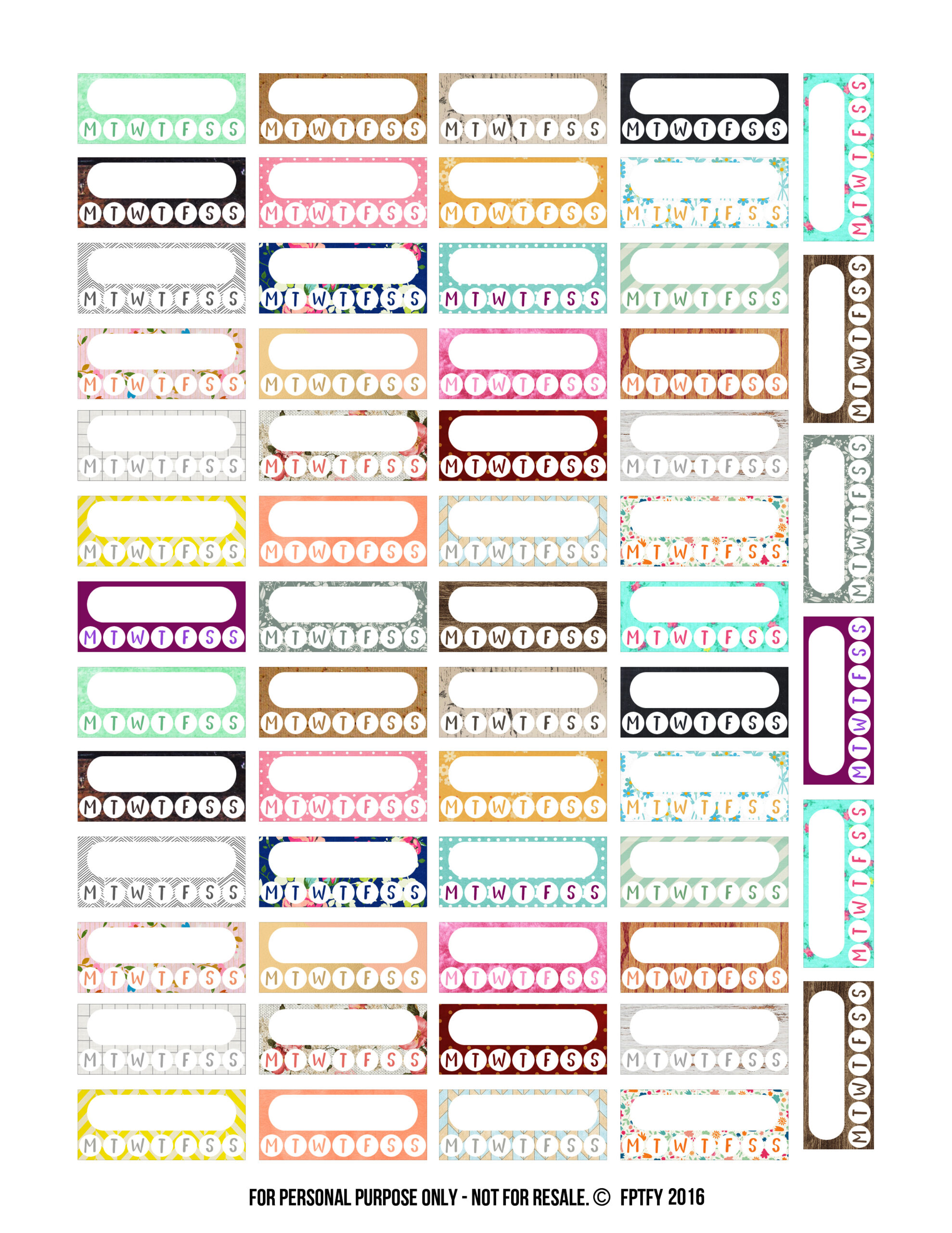 Free Variety Pack Habit Tracker Planner Stickers! - Free Pretty ... for Planner Stickers Template  186ref