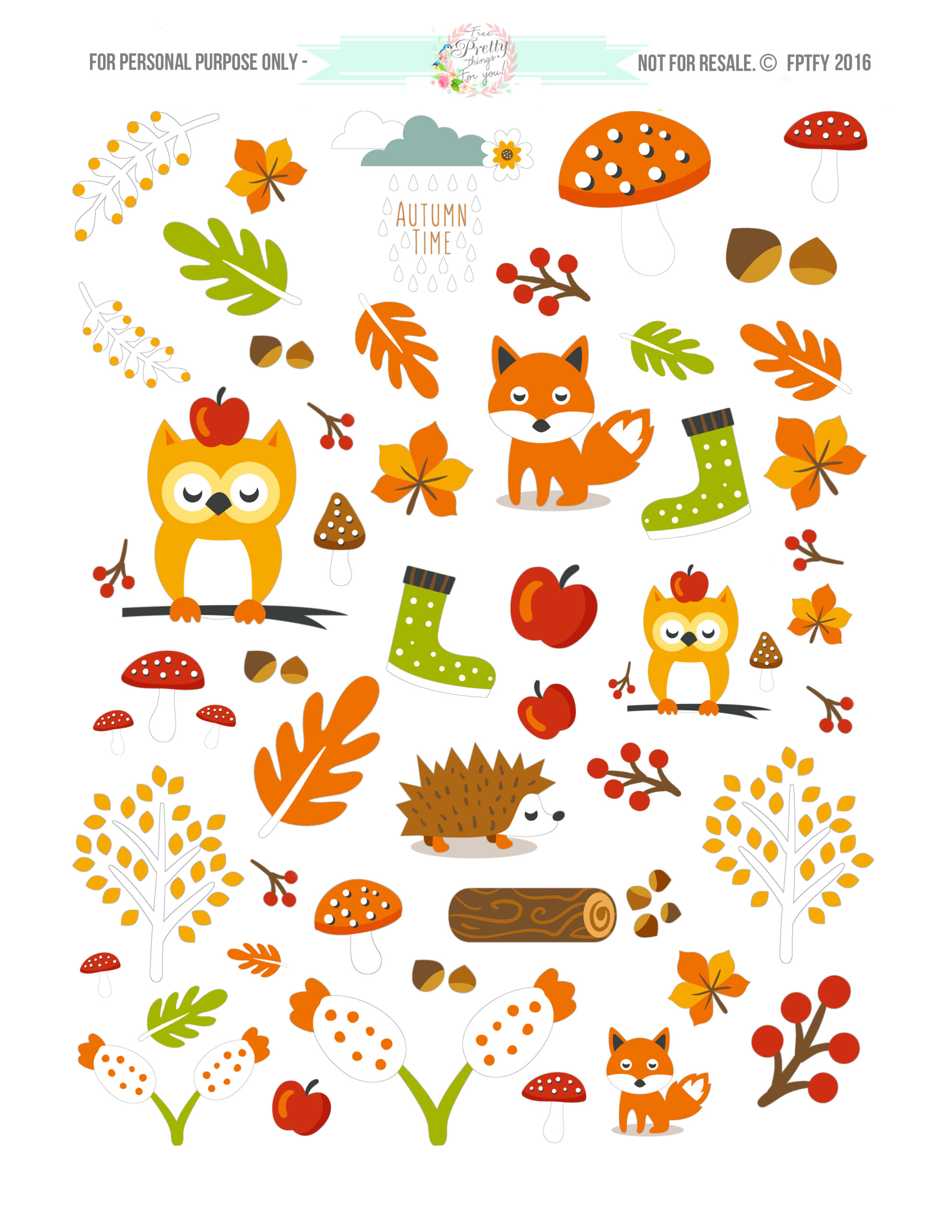 Free Cute Autumn Animal Clip Art and Planner Stickers ...