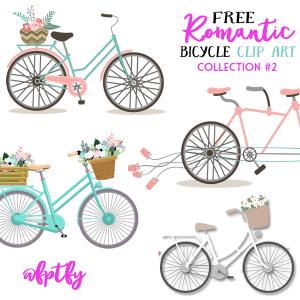 Free Romantic Bicycle Clip Art- Set #2!