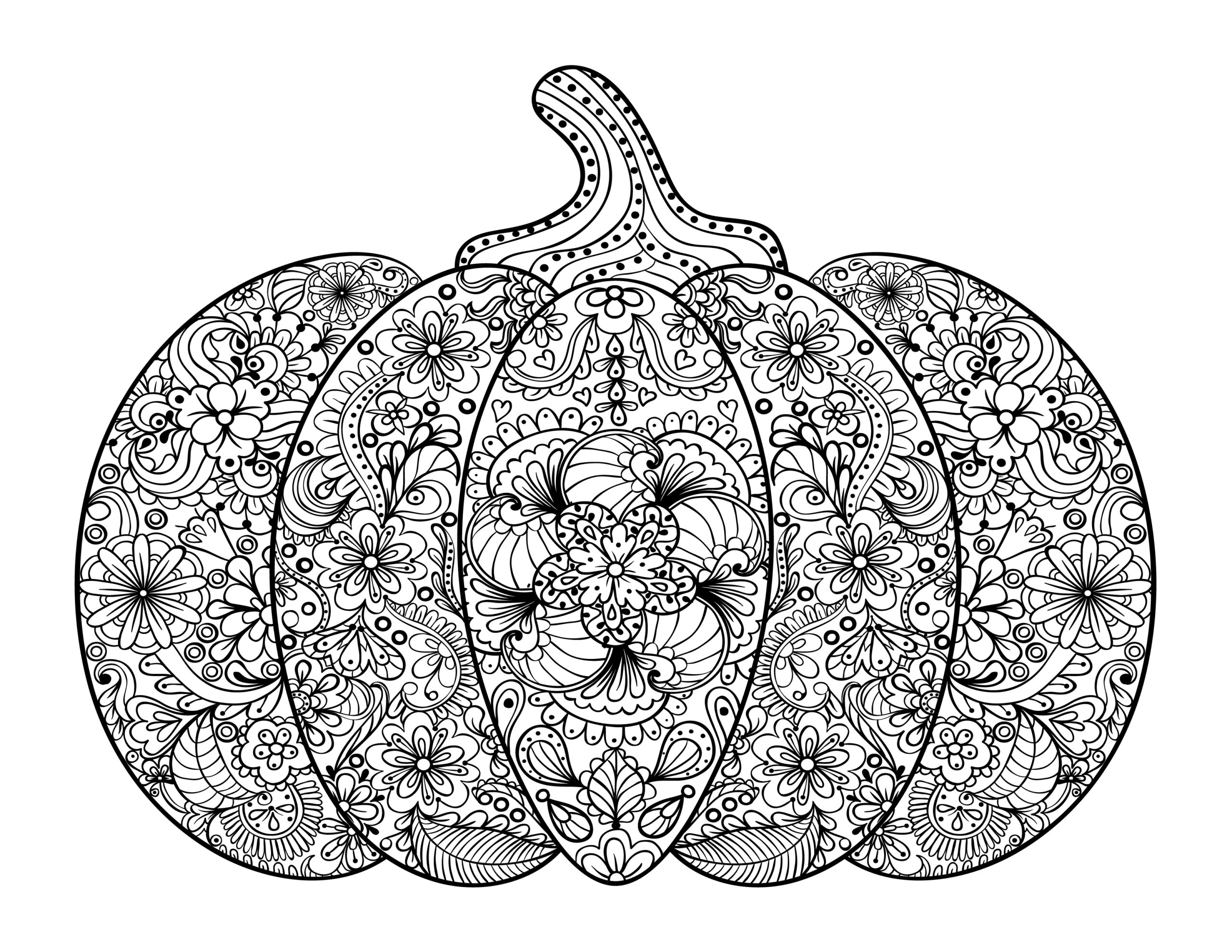 Free Adult Coloring Pages- Pumpkin Delight!