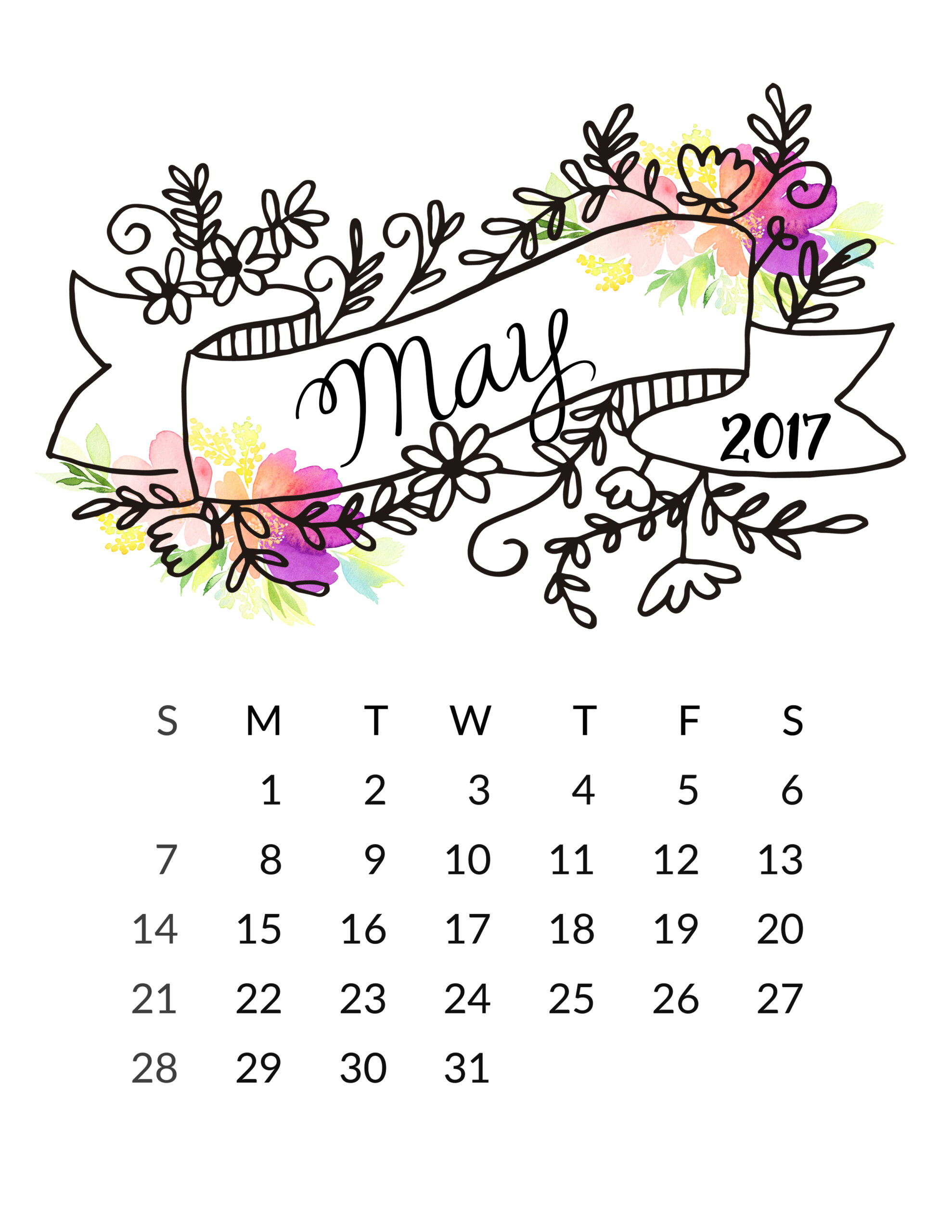 Printable Calendar May 2017 free 2017 printable calendar! - free pretty things for you