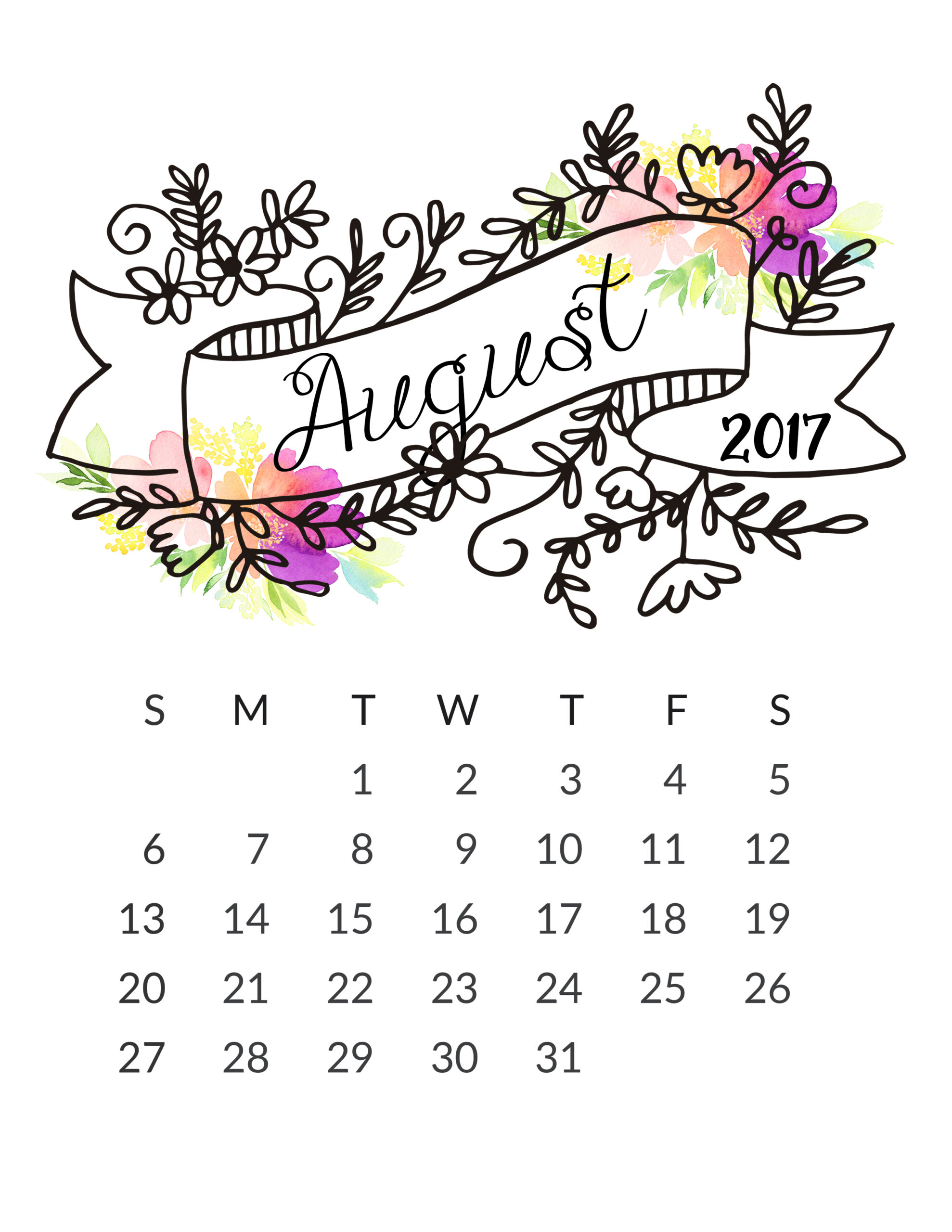 Free 2017 Printable Calendar! - Free Pretty Things For You