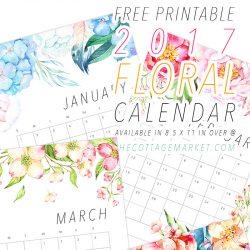 Gorgeous 2017 Floral Free Printable Calendar