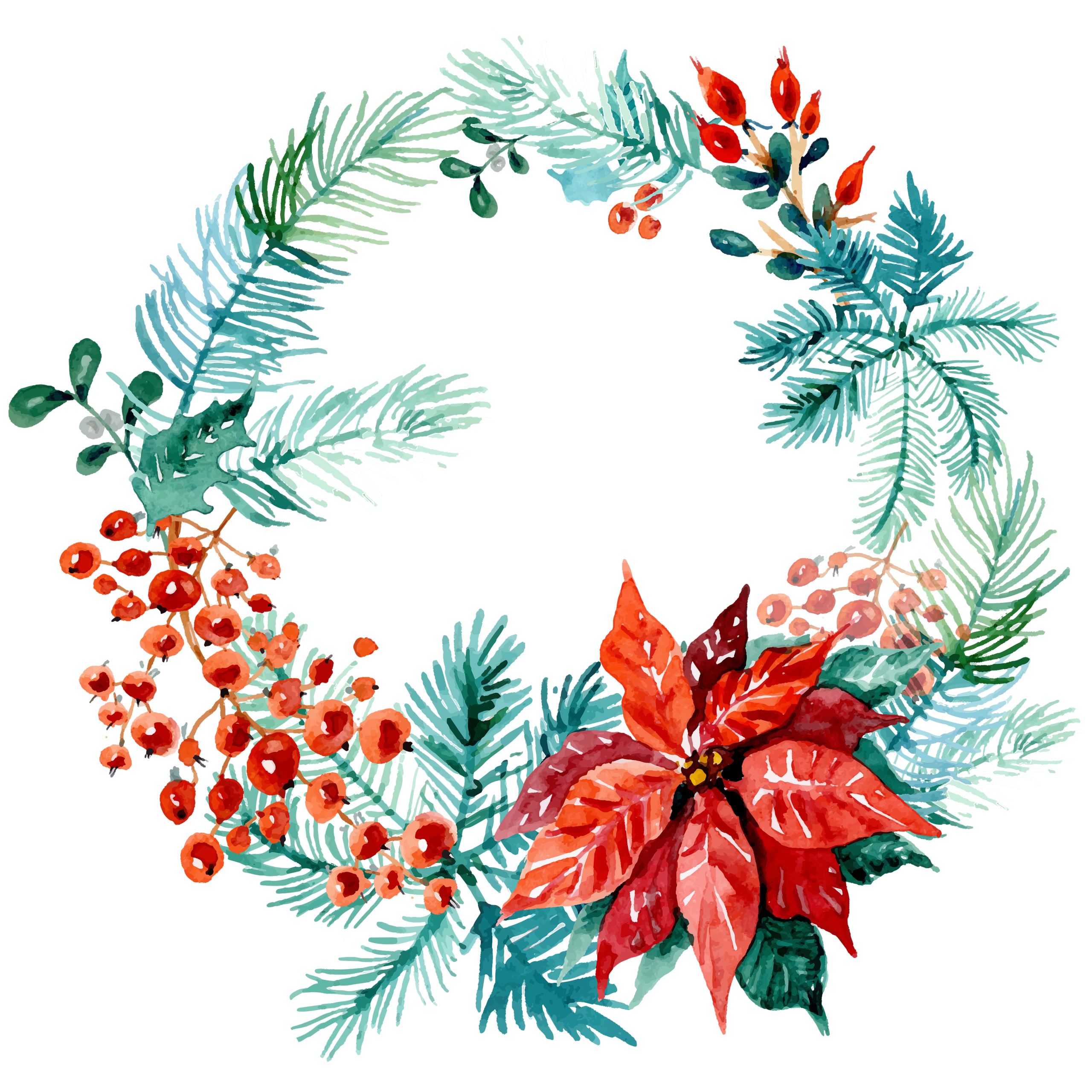 Thanksgiving Royalty Free Image >> Free Christmas Watercolor Wreaths! - Free Pretty Things For You