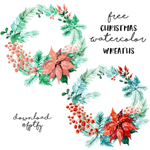 Free Christmas Watercolor Wreaths!