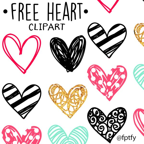 free hand drawn doodle heart clipart