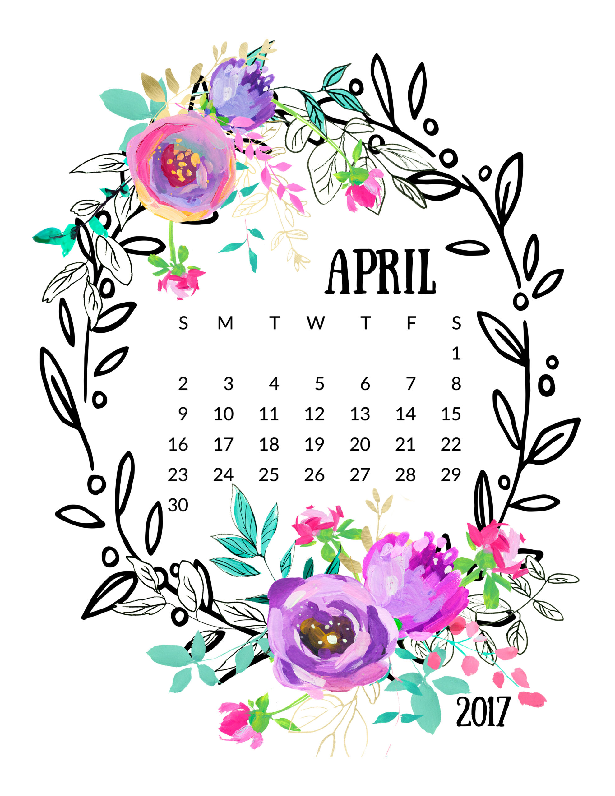 Mint and Purple 2017 Calendar! - Free Pretty Things For You