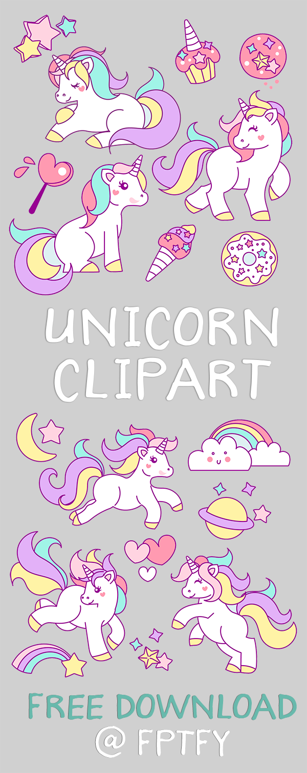 Vintage Free Hand Drawn Unicorn Clip Art