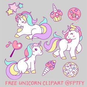 Free Hand Drawn Unicorn Clip Art