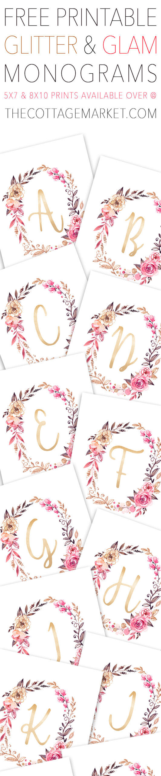 picture about Free Printable Monogram named Glitter and Glam Monogram Wall Artwork - Totally free Lovely Elements For Your self