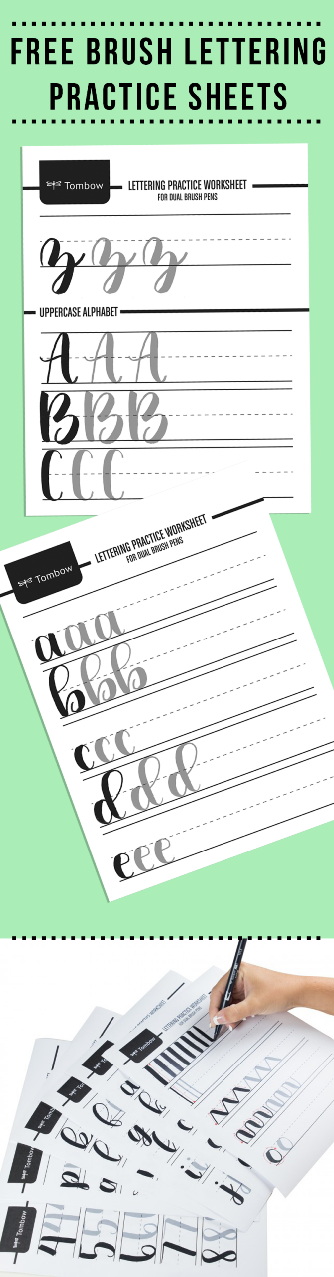 Free Brush Lettering Practice Sheets