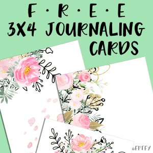 Free 3×4 journaling card printables: Gold Blush