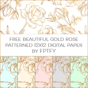 Free Gold Outlined Rose Patterned Digital Paper