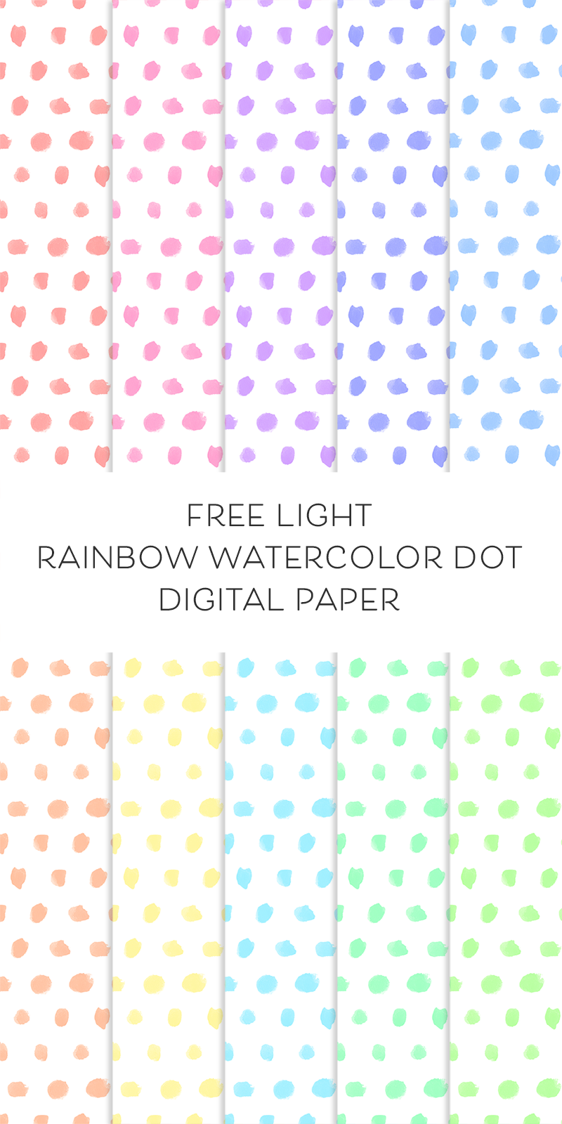 image about Free Printable Dot Paper named No cost Electronic Backgrounds: Gentle Rainbow Watercolor Dot Paper
