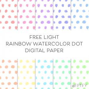 Free Digital Backgrounds: Light Rainbow Watercolor Dot Paper