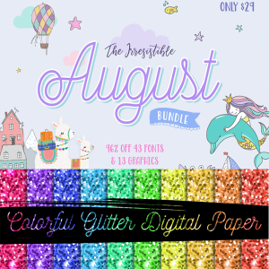 Free Colorful Glitter Digital Paper By The Irresistible Bundle!
