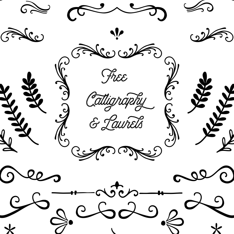 Free Laurels and Calligraphy Shapes