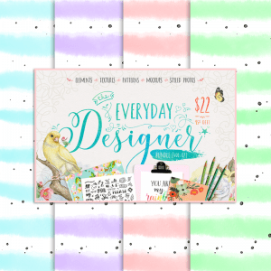 Free Watercolor Speckled Stripe Digital Paper