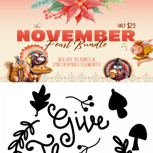 Free Give Thanks SVG //  November Bundle // $1 Deals