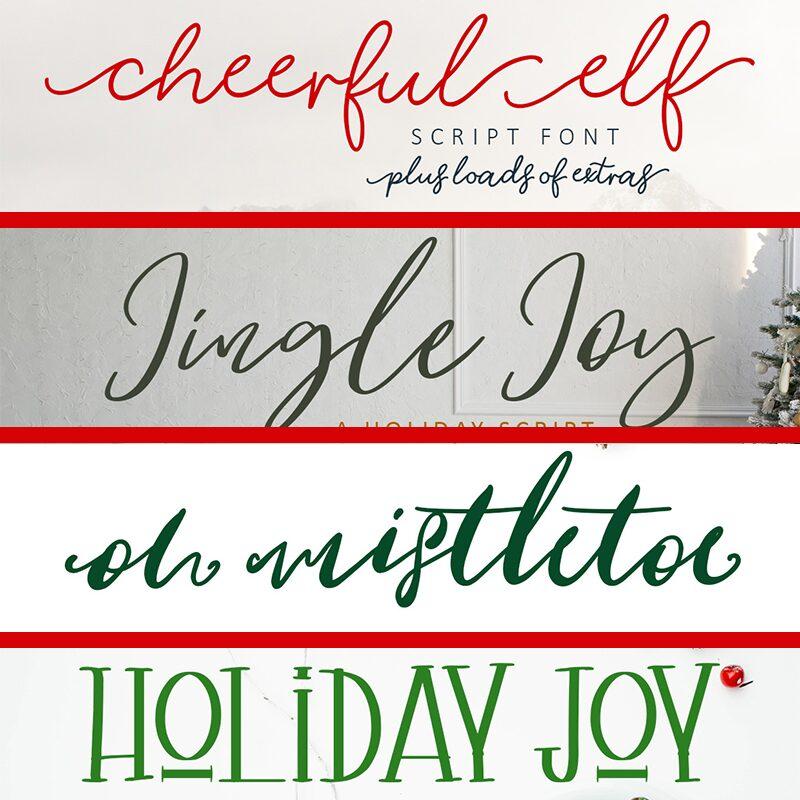 4 Free Fonts: Cheerful Elf, Jingle Joy, Oh Mistletoe, Holiday Joy