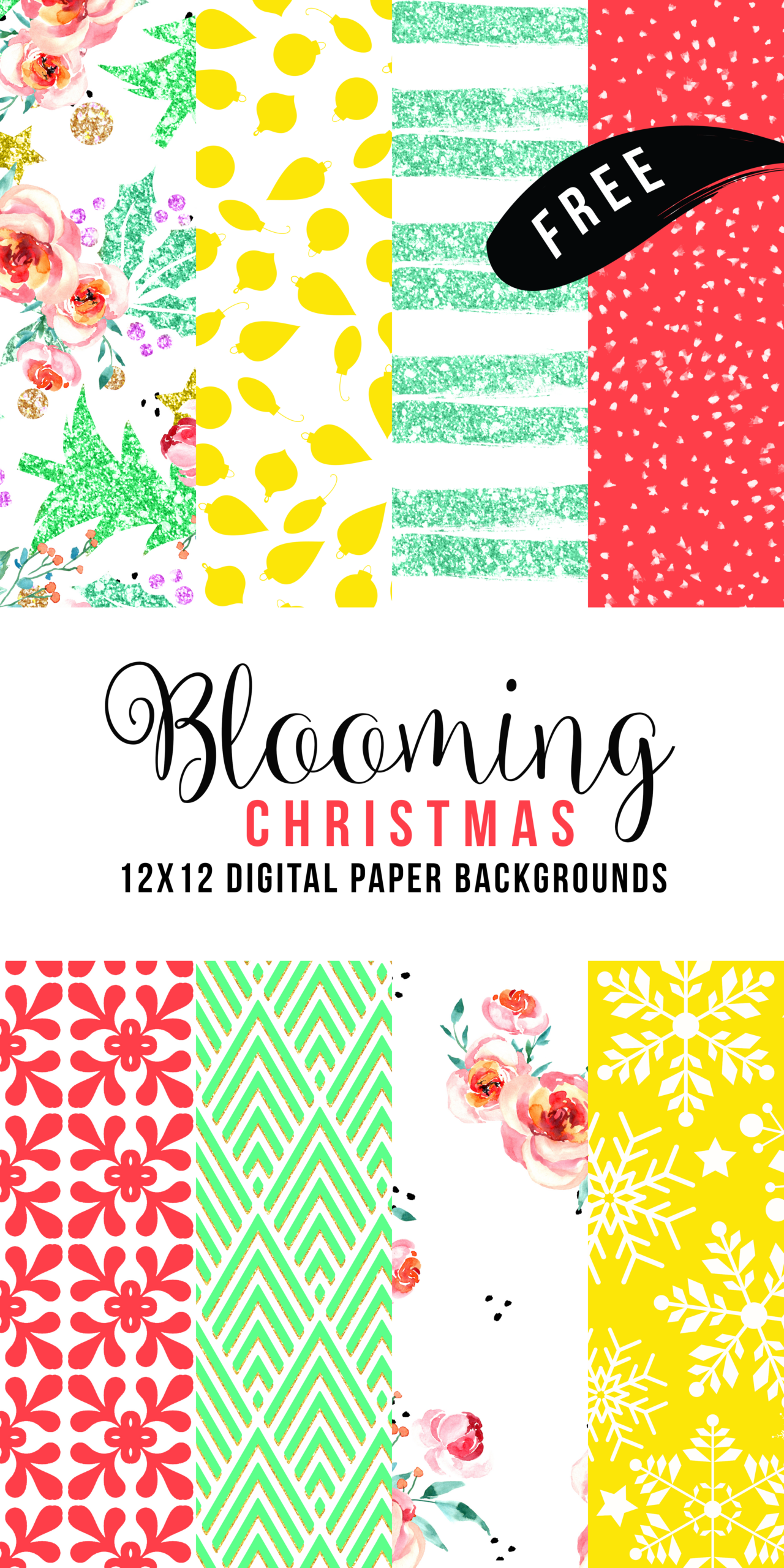 Free digital scrapbooking paper archives free pretty things for you free blooming christmas digital paper collection jeuxipadfo Image collections