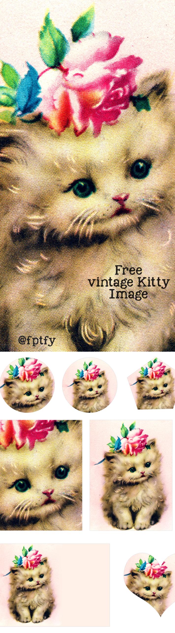 Free Vintage Kitty Cat Image + Collage Sheet
