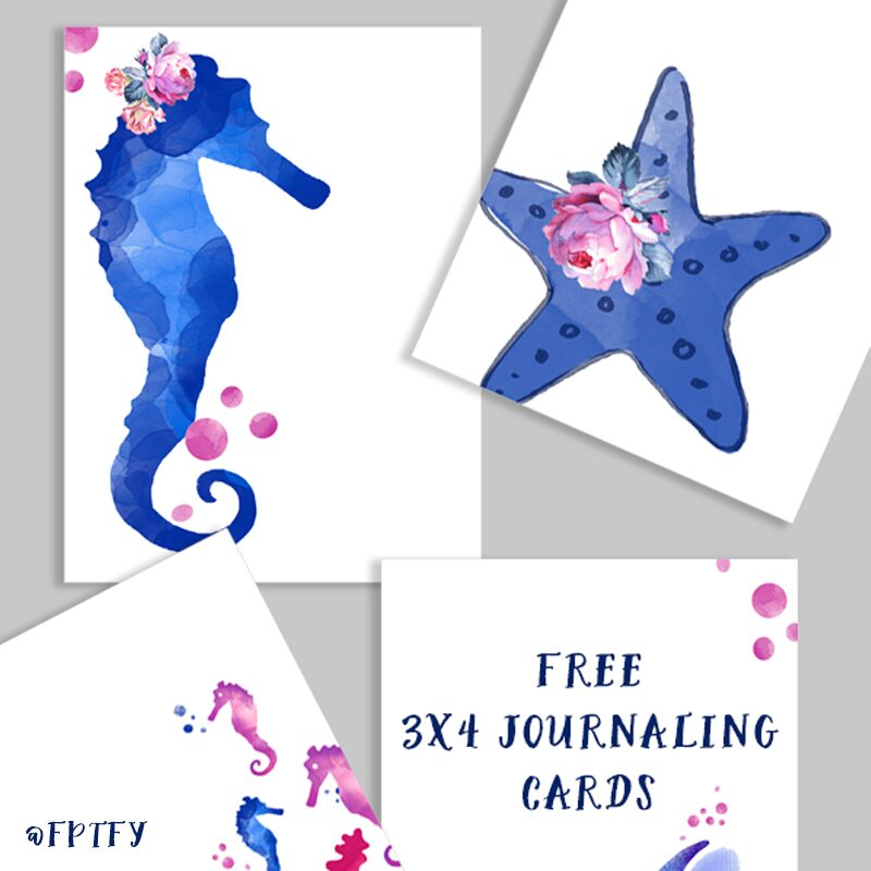 Free Under the Sea Garden 3x4 Journaling Cards