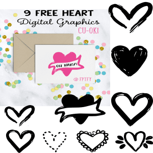 9 free hand-drawn digital graphic hearts