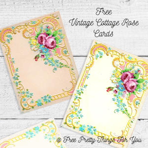 Free Vintage Cottage Rose Postcard Images