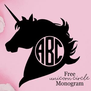 Free Unicorn Circle Monogram