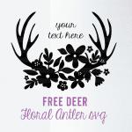 Pretty Deer Antler Floral SVG Cut File