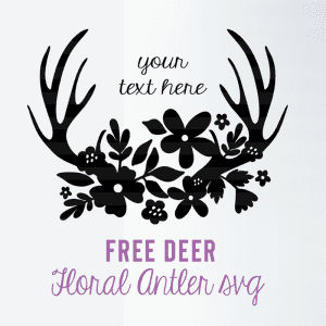Pretty Deer Antler Floral SVG Cut File