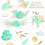 Free Winter Mint and Gold Floral Graphics