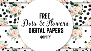 dots and flowers digital paper backgrounds