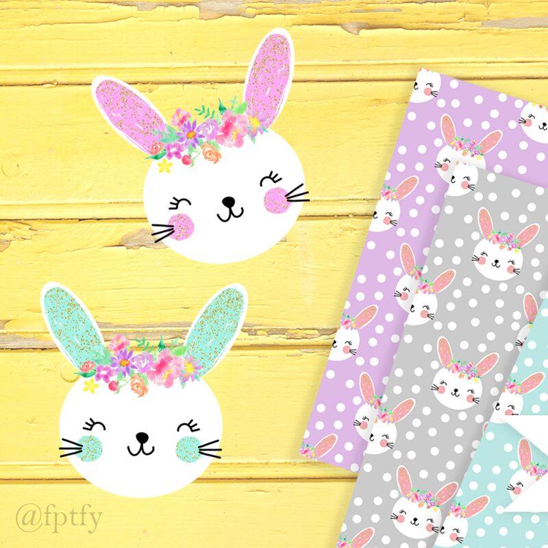 Cute Bunny Clipart Digital Paper
