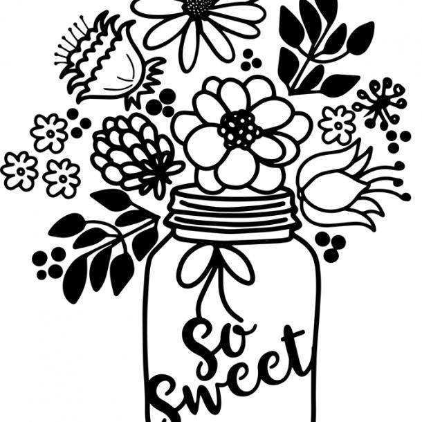 FREE Floral Jar Bouquet SVG Cut File