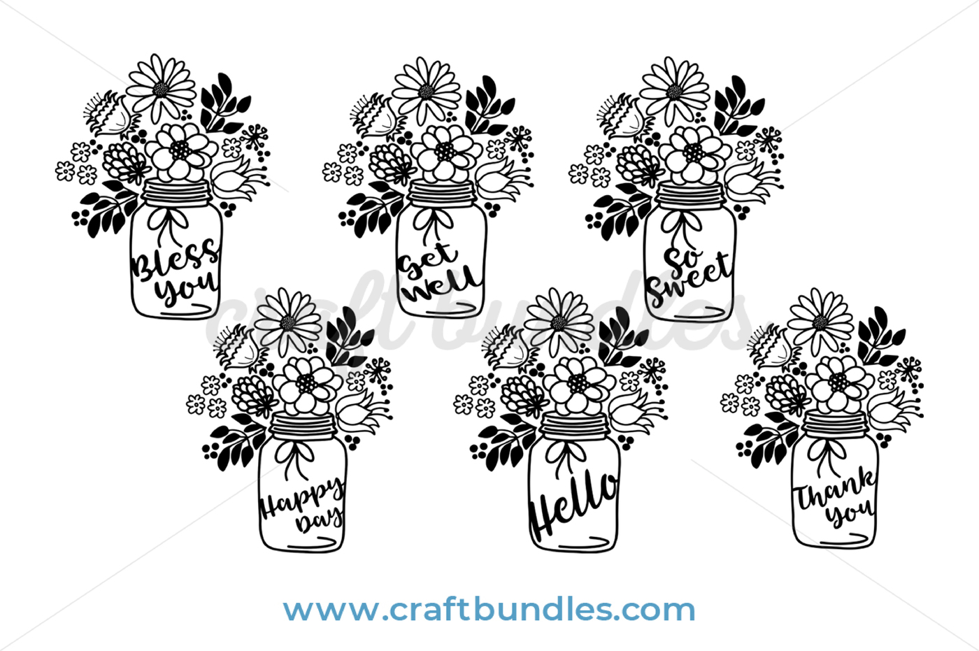 FREE Floral Jar Bouquet SVG Cut File