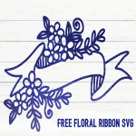 Free Floral Ribbon SVG cut file