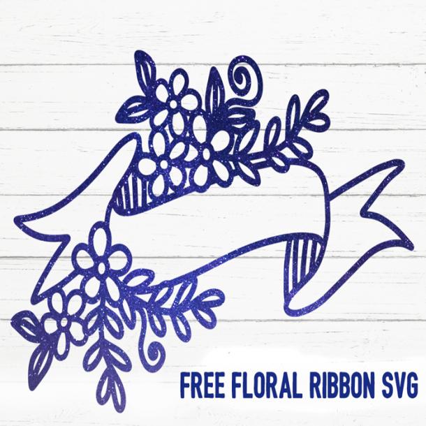 Free Floral Ribbon SVG cut file
