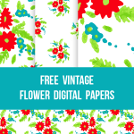 Red and Aqua Vintage Digital Scrapbooking Paper Backgrounds