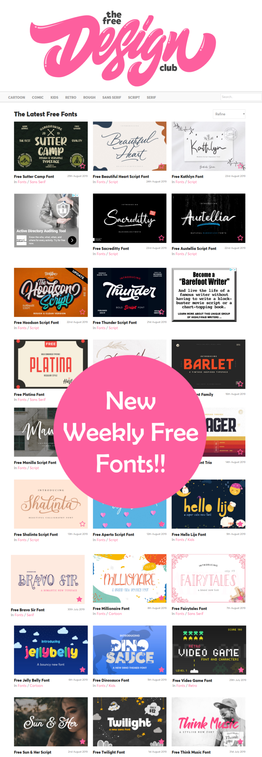 Free Fonts by The Free Design Club