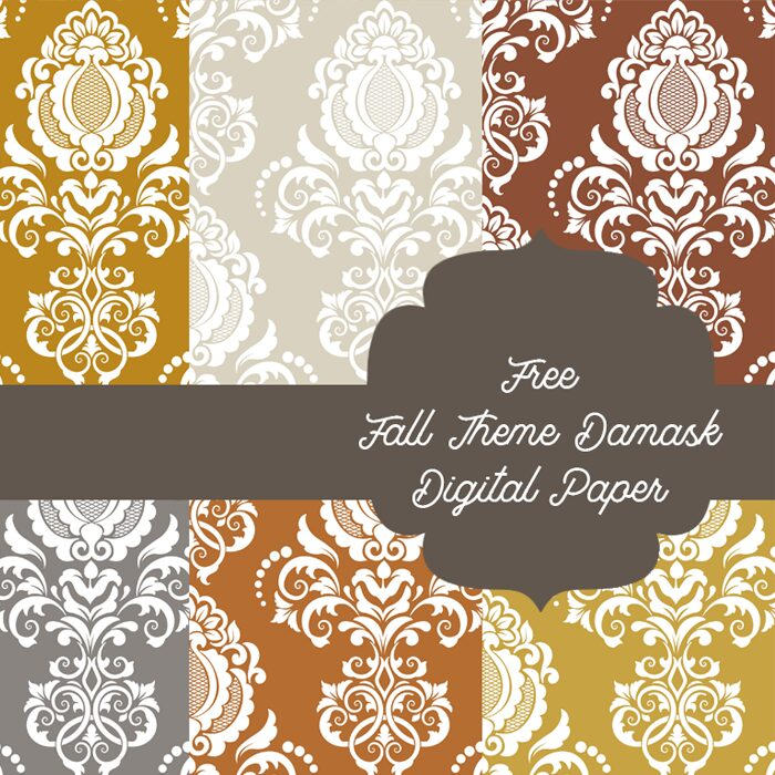 Free Fall theme Damask Digital Paper