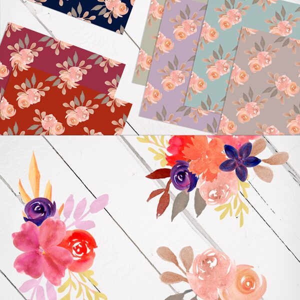 watercolor flowers png files