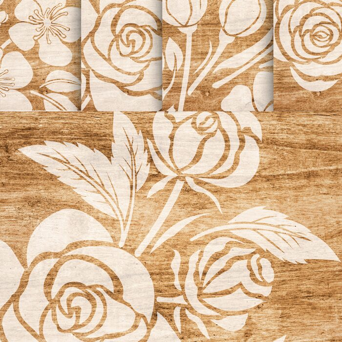 Free Floral Wooden Digital Papers