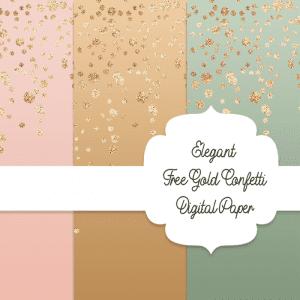 Free Elegant Gold Confetti Digital Paper