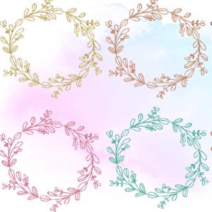 Nine Free Glitter Doodle Wreaths