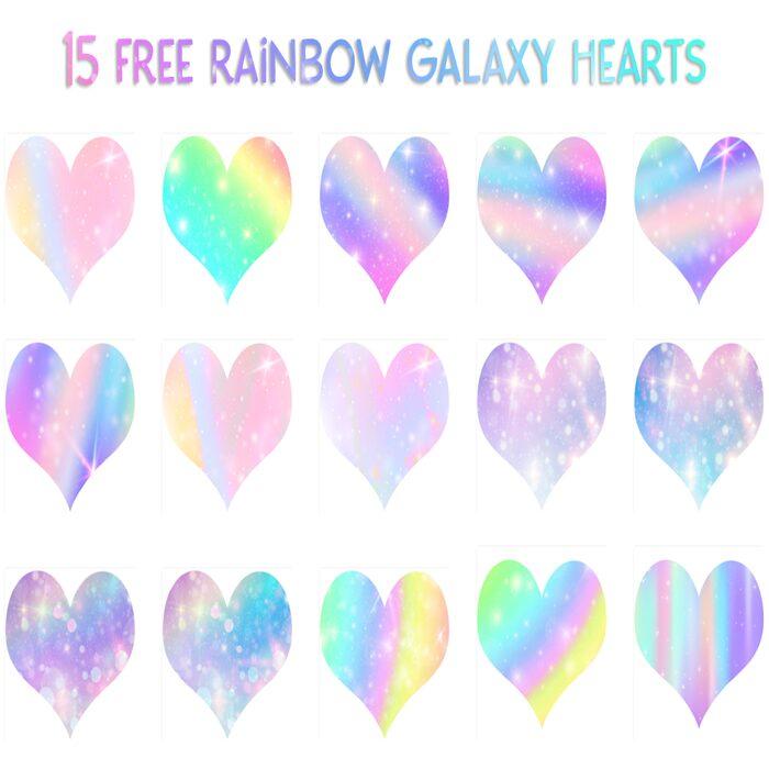 15 Free Rainbow Galaxy Hearts